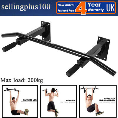 Wall Mounted Chin Ups Pull Up Bar Gym Heavy Duty Home Workout Door Iron Bracket