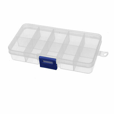 Jewelry Earring Bead Organizer Storage Case 10 Compartments Plastic Clear