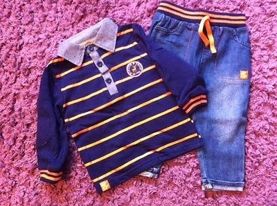 Baby Boys Jeans & Long Sleeved Top Set Outfit 6-12 Months