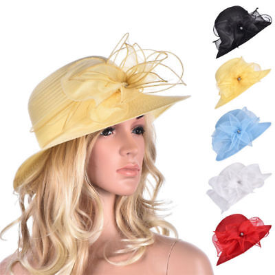 Womens Kentucky Derby Floral Wide Brim Church Dress Summer Sun Hat A323