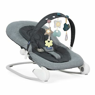 New Chicco Dark Grey Hoopla Bouncer Adjustable Baby Rocker Chair From Birth