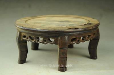 Antique Chinese Hand Carved Footed old Wood Stand Jade in the inside large HH2