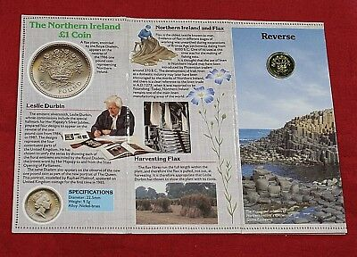 1986 Northern Ireland Uncirculated 1 Pound Coin in Royal Mint Folder