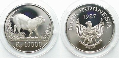 INDONESIA 10000 Rupiah 1987 Wild pig WWF silver Proof # 98022