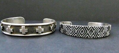 2 Vintage NAVAJO Sterling Cuff Bracelets - Signed E.G.BIGHAND and (d) KIRK SMITH