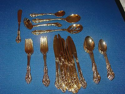 Customcraft Gold New Set For 7 Flatware 42 Pieces Stainless Japan Serving Chic