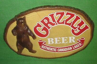 Vintage Grizzly Beer Canadian Lager 3D Bear Wall Sign for Store & Bar SHIPS FREE