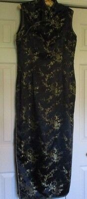 Oriental Style Long Dress, Black with Gold/Green design, Size 40, Blue Dragon