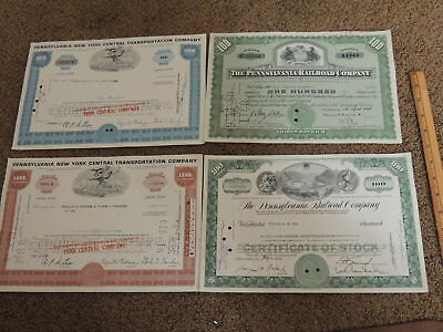Pennsylvania Railroad / New York Central vintage stock papers lot of 4 good cond