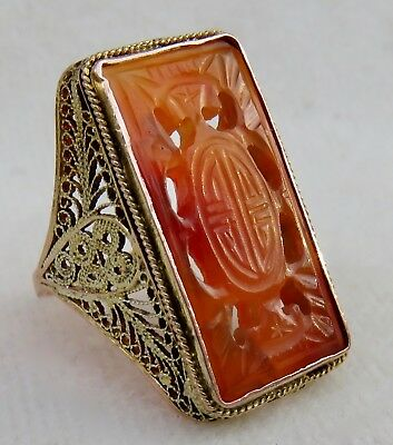 Antique Chinese Large 18K Gold Filigree Intricately Carved Red Jade Ring
