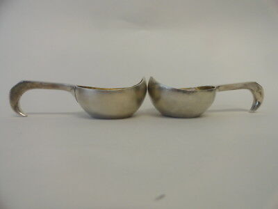 Pair of antique Russian silver 84 small kovshes. Length of each is 4.5 inches