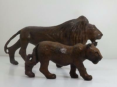 Heavy Wood Lion Lioness & Cub Finely Crafted & Detailed