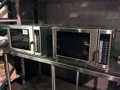 Amana RFS12TS Medium Duty Stainless Steel Commercial Microwave with Push Button
