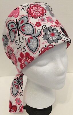 Flannel Butterfly Floral Medical Pixie OR Scrub Cap Surgery Hat