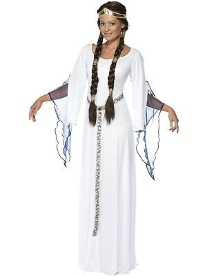 Robin Hood Maid Marion Medieval Princess White Long Fancy Dress Costume