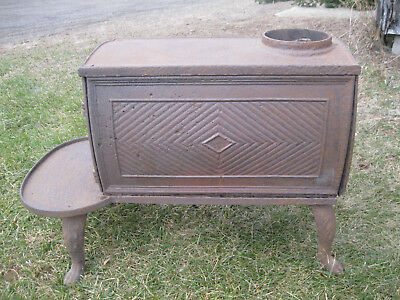 "Rare 1800's Antique Maine Cast Iron Box Stove, Small - only 18"" Tall,10"" Wide!"