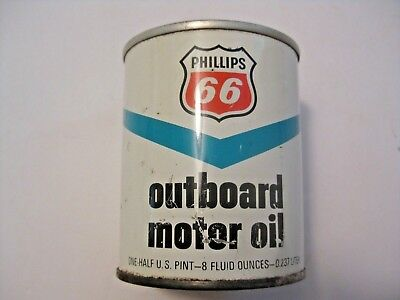 Vintage Phillips 66 Gas & Oil Advertising Outboard Motor Oil Can ~ Full Can !