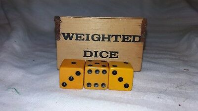 Three 6-sided Vintage Dice set in Weighted Dice Box. Bakelite?