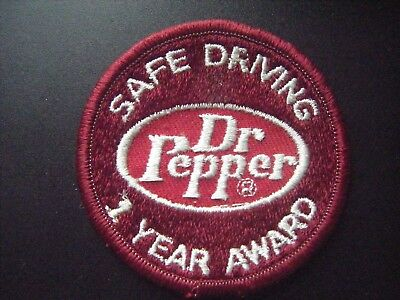 """Vintage Authentic Original Dr Pepper 1 Year Safe Driving 2 3/4"""" Sew-On Patch"""
