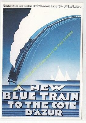CP AFFICHE Nothern of France Wagons Lits P.L.M. NEW BLUE TRAIN Edit CLOUET 10123