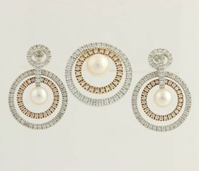 Akoya Pearl & Diamond Earrings & Pendant - 14k White & Rose Gold Fine 1.35ctw