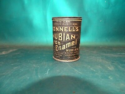 Antique Advertising Bonnell's Nubian Iron Enamel Small paint Tin Can Dated 1888!