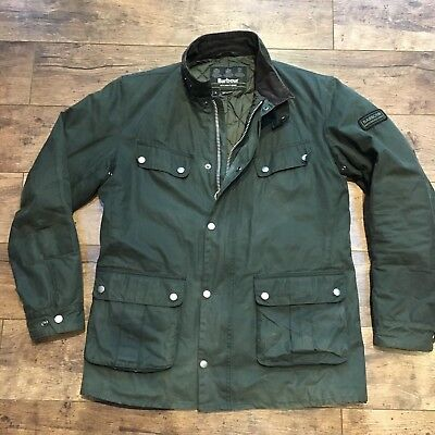 Men's Barbour International Olive Green Waxed Quilted Duke Jacket Size Large