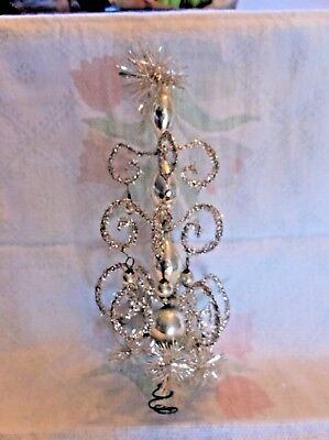 Vtg.German Feather Tree Topper Wire Tinsel w/ Silver Mercury Glass Accents