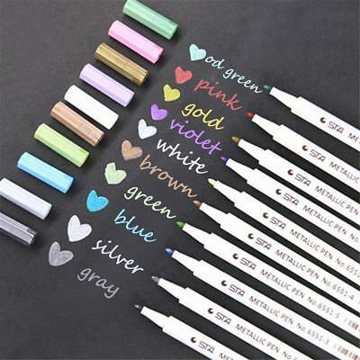 10 Colors Metallic Paint Marker Soft/ Hard Tips Art Calligraphy Paint Brush Pens