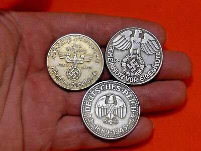 Lot Of 3 Coins - 1932 1933 German War Eagle Nazi Swastika Wwii Collectible Coin