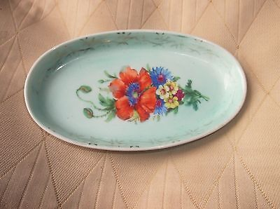 Unusual Small Elegant Gilded Aqua Oval Pin Dish Floral Centre Meissner Limoges