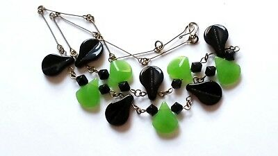 Czech Black And Green Glass Bead Necklace Vintage Deco Style