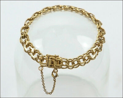 Vintage - Old School - 14k Solid Yellow Gold Charm Bracelet - Heavy -