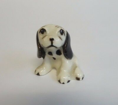 Hagen Renaker Vintage BLACK & WHITE COCKER SPANIEL PUPPY Dog Miniature Figurine