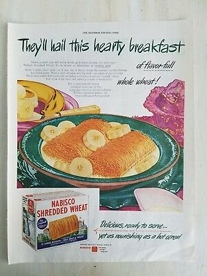 1945 Bowl Nabisco Shredded Wheat bananas hearty breakfast cereal ad