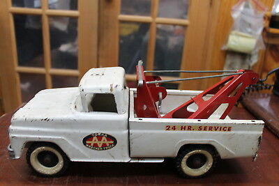 Vintage 1960's Tonka Toy Pressed Steel White Aa Wrecker Truck Played With