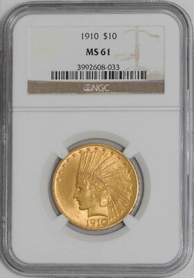 1910 $10 Gold Indian #3992608-033 MS61 NGC