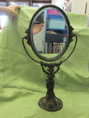 Antique ART DECO Cast Iron Lady Swivel Mirror Actual Old One, Not Reproduction