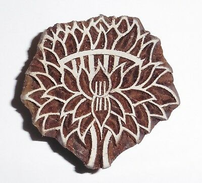 Lotus Flower Shaped 5.5cm Indian Hand Carved Wooden Printing Block (2018-LT-1)