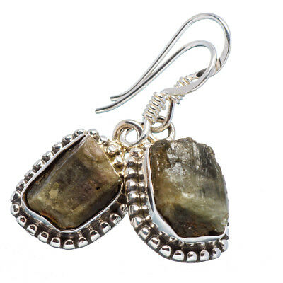 "Green Tourmaline 925 Sterling Silver Earrings 1 1/4"" Jewelry E355950"