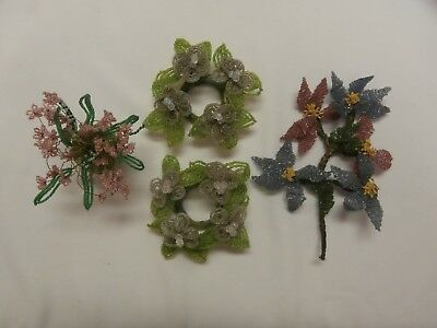 Lot Of Antique Vtg French Wired Glass Seed Bead Flowers Vase Candle Rings