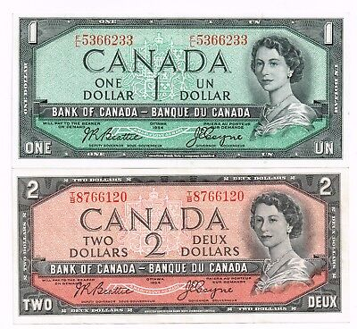 LOT OF TWO 1954 (1955-61) CANADA ONE & TWO DOLLARS NOTES - p75a,76a