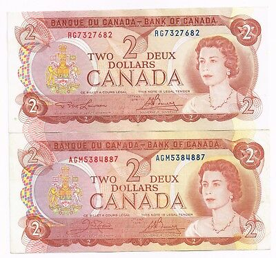 LOT OF TWO 1974 CANADA TWO DOLLARS NOTES - p86a,b