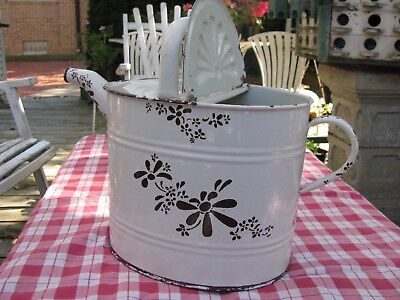 Antique White Enamel Watering Can Enamelware Large French Shabby Chic Garden