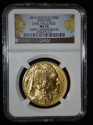 2013 $50 Gold Buffalo NGC MS 70 Early Releases