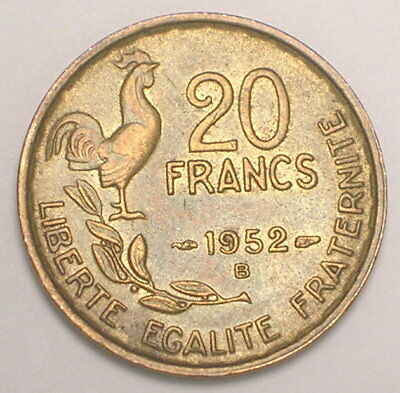 1952 B France French 20 Francs Rooster Coin XF