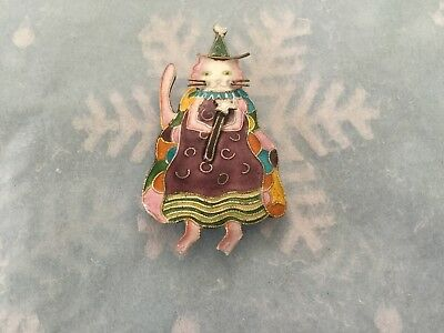Zarah Cat Pin / Brooch , Sterling Silver , enameled paint , Halloween Witch