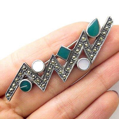Signed 925 Silver Mother-Of-Pearl Marcasite Green Onyx Zig Zag Pin Brooch
