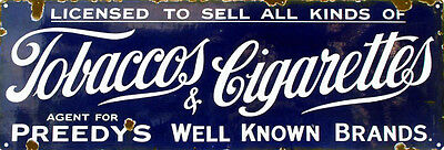 Preedy's Tobaccos& Cigarettes Advertisement Reproduction Sign