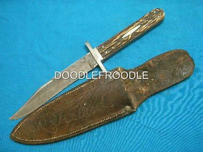 Antique Ixl G Wostenholm Washington Works Sheffield Stag Hunting Bowie Knife Old